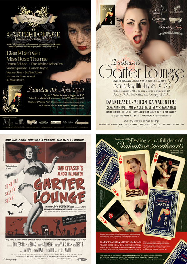Posters for Darkteaser's Garter Lounge designed by Craig Spivey with photography by Raquel Rouge