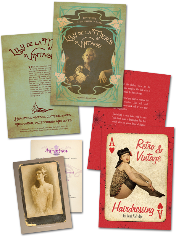 Vintage effect flyers by Craig Spivey with photography by Raquel Rouge