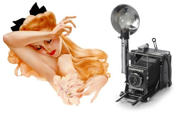 Vargas pin-up girl and antique camera