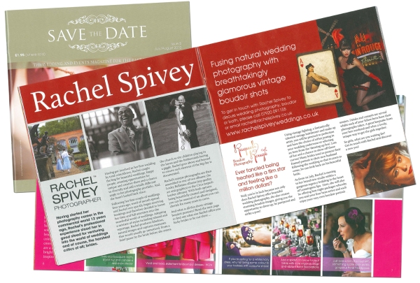 Rachel Spivey / Raquel Rouge feature in Save the Date wedding magazine