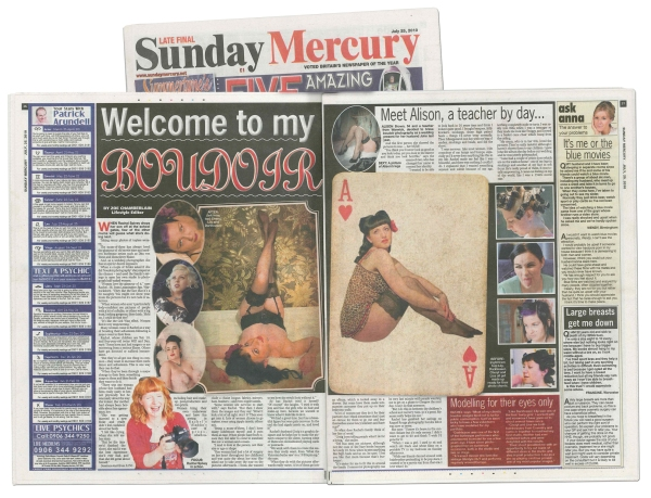 Double page spread featuring Raquel Rouge in the Sunday Mercury newspaper