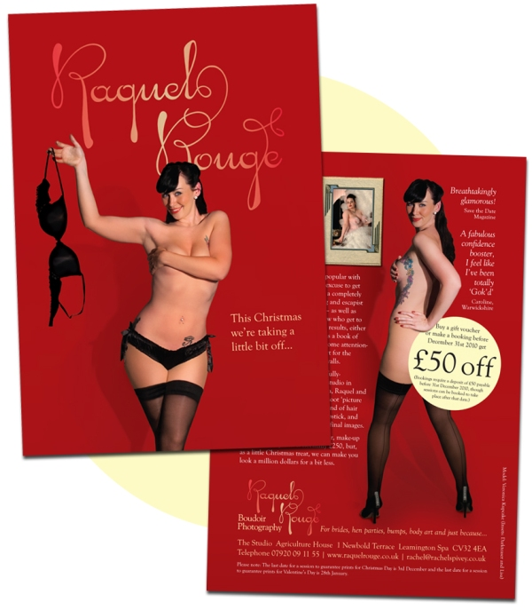 Raquel Rouge flyer with cheeky model