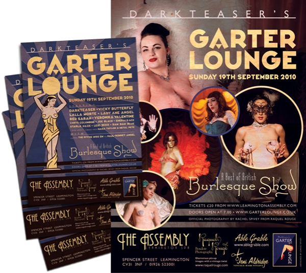 Garter Lounge posters and flyers