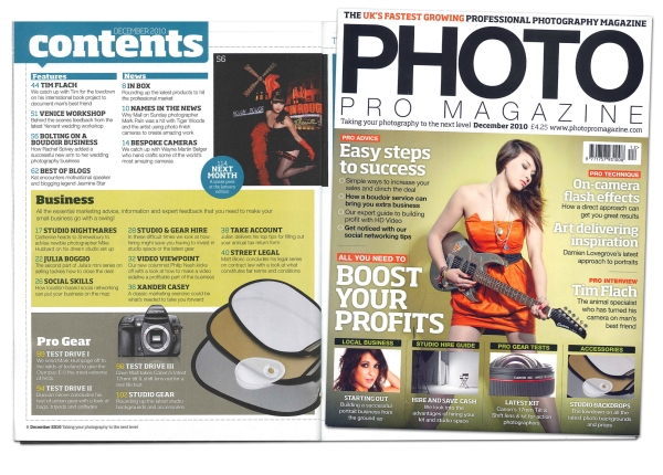 Rachel Spivey featured in December 2010 issue of Photo Pro Magazine
