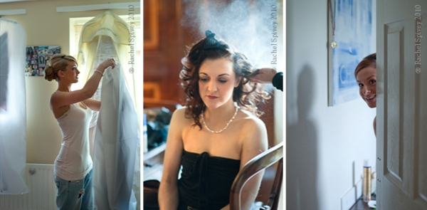 Candid photos of brides and bridesmaids preparing for the big day