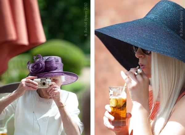 Summer wedding guests wearing broad brimmed hats