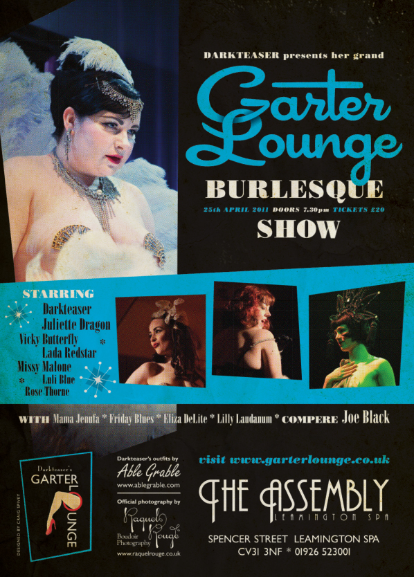 Poster for Warwickshire burlesque night Darkteaser's Garter Lounge
