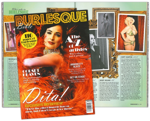 UK magazine Burlesque Bible featuring cover star Dita Von Teese