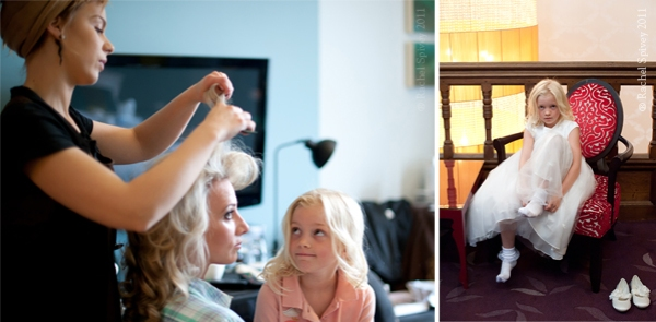 Young bridesmaid looks on while the bride gets her hair done