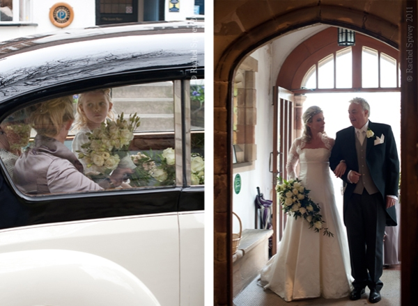 Bridal party arrives at the cur – caught on camera my reportage-style wedding photographer Rachel Spivey