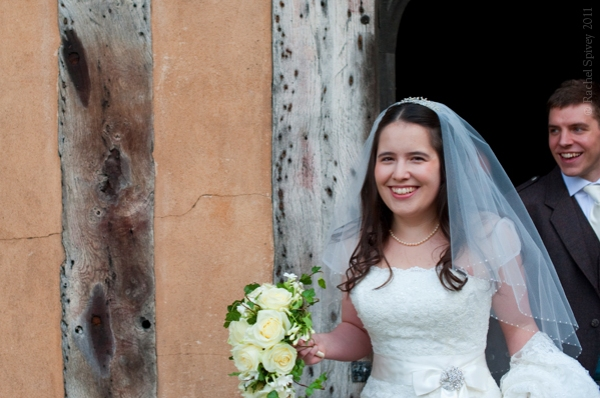 Wedding couple at Lord Leycester Hospital, Warwick