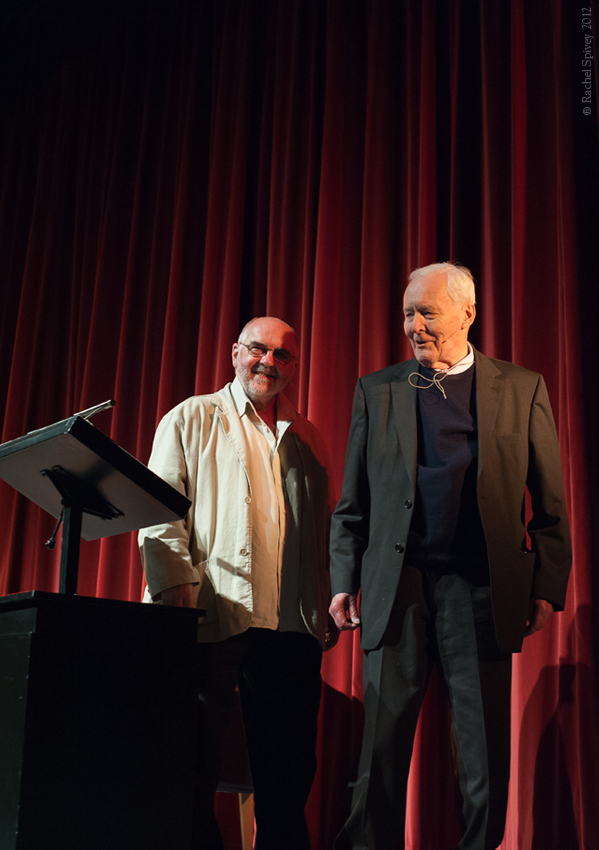 Roy Bailey and Tony Benn photographed in Leamington Spa by Rachel Spivey Photographer