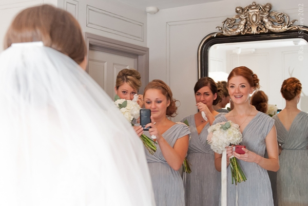Bridesmaids moved to tears at the appearance of the Bride