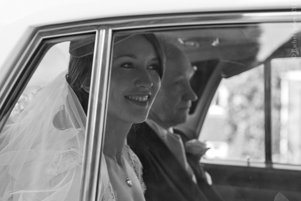 Bride arrives in the wedding car