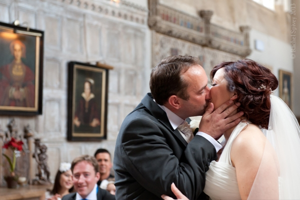 Kiss the bride Fawsley Hall Northamptonshire Wedding Ceremony