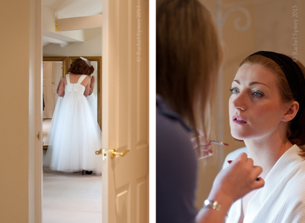 Bride and makeup artist at wedding Warwick House Southam Warwickshire
