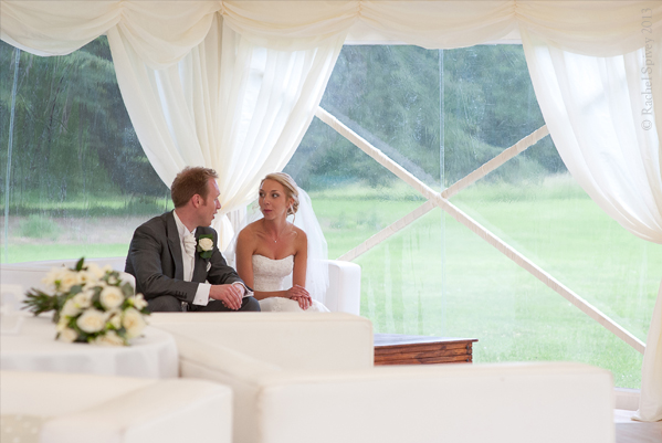 Wedding marquee at Compton Verney bride and groom flowers by Warwickshire wedding photographer Rachel Spivey