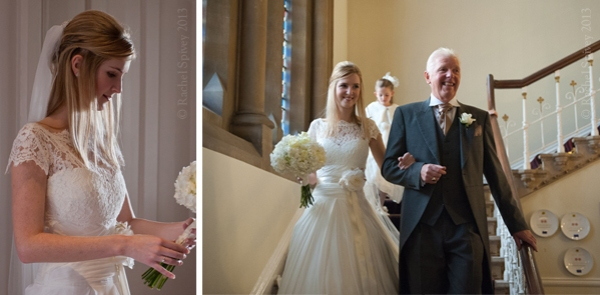 Bride_descends_stairs_with_father at Wellesbourne wedding Walton Hall Warwickshire