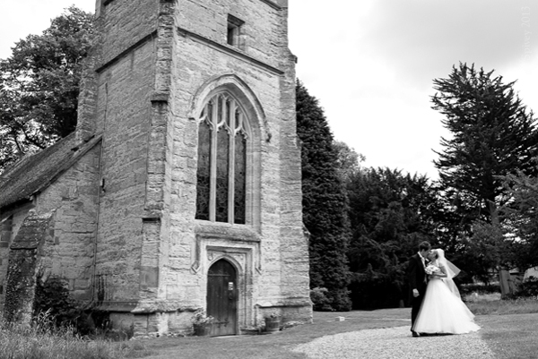 Solihull church wedding photography of couple in grounds