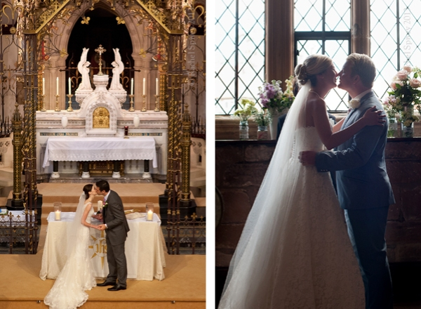 Wedding ceremony kiss at Princethorpe College and Kenilworth Castle bride and groom kiss