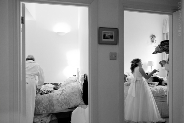 Getting ready for wedding at Clopton House Warwickshire