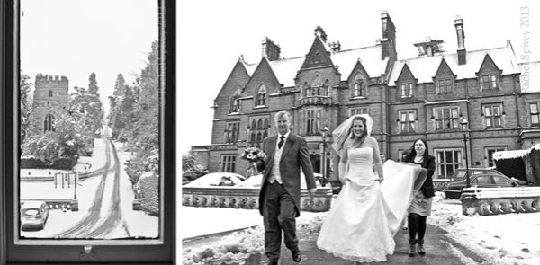 Bridal party at Wroxhall Abbey
