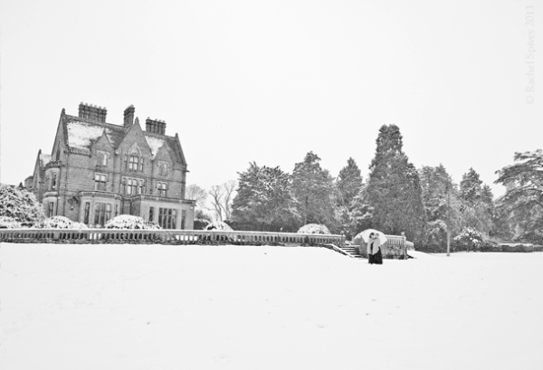The ground of Wroxall Abbey in the snow