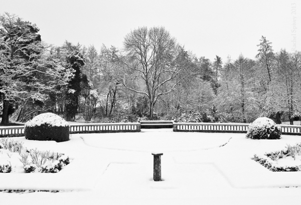 The formal gardens at Wroxhall Abbey under a blanket of snow