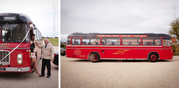 Wedding guests arrive in a vintage Midland Red bus by Warwckshire wedding photographer Rachel Spivey